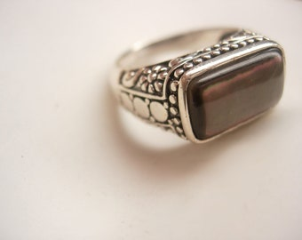 Vintage Gothic Ring Sterling Silver Abalone Stone Hallmarked ladies womens jewelry beautiful metal work size 7 1/2