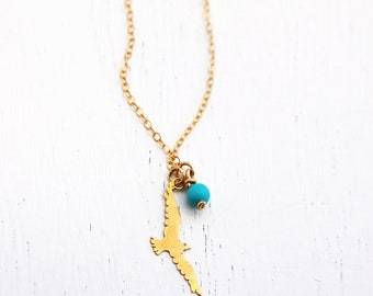 Gold necklace, gold bird necklace, seagull pendant, turquoise bead necklace
