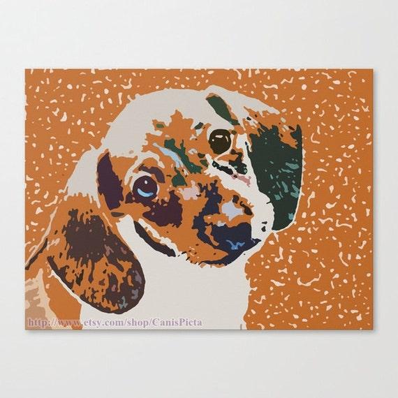 "Dachshund ""Atomic Fireball"" 10x8 Pop Art Print Puppy Orange Bright Wall Home Decor Children Kid Nursery Pumpkin Fall Autumn Green Blue Neon"
