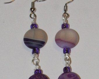 Purple Swirl Earrings with Glass Beads