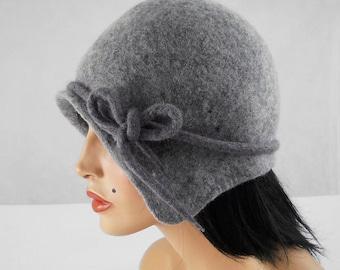 Flapper Hat Felted Hat Cloche hat  Jazz Hat Grey Art Hat felt nunofelt nuno felt silk eco fiber art art deco