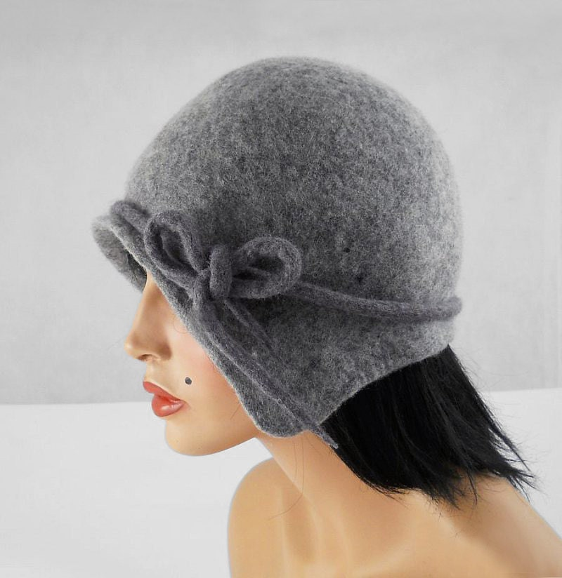Flapper Hat Felted Hat Cloche hat Jazz Hat Grey Art Hat felt