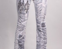 830 Grey Stripe Dream Feather Custom Yoga Pants