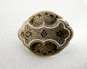 Tiny Victorian Taille d'Epergne enamel brooch very small pin a gem of fine detail damascene like black and white enamel c 1860 - 1870