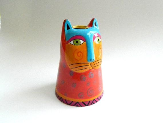 Vintage Laurel Burch ceramic cat candle holder c 1985