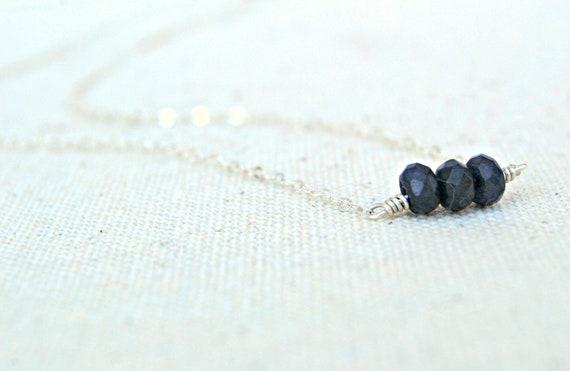 trois... dark blue sapphire rondelle & sterling silver necklace / september birthstone / gifts under 40 / hostess gift / for her