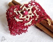 Tatting cuff bracelet - Burgundy Elegance - tatted lace bracelet in burgundy and creamy colors
