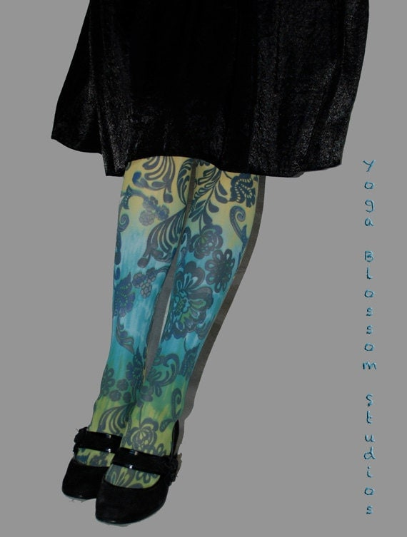 Ombre Tights in shades of blue and green with black floral design