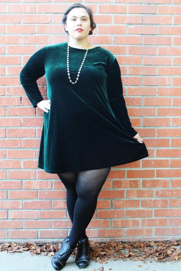 Plus Size Vintage Dark Green Stretch Velvet Mini Dress Size