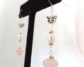 Sterling Silver Pink Rose Quartz Pearl Bead Butterfly Handmade Dangle Earrings Jewelry Insect Butterflies Bridal