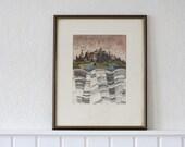 Signed Original Art Framed Etching by Reimund Franke- Landscape on a Rainy Day