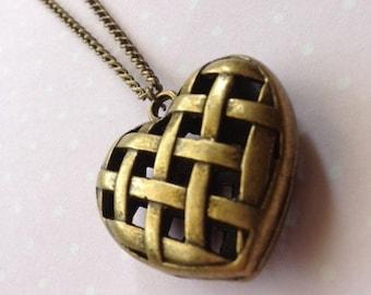 Antique Bronze Woven Hollow Heart Charm Necklace