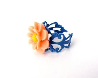 Flower Ring, Adjustable Filagree Ring, Blue, Orange and Yellow, Daisy Ring, Gift for Her