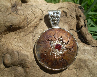 VOLCANO Handmade mixed metal sterling silver copper pendant
