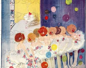 RARE Stunning Hilda Cowham Dancing Fairies//VINTAGE Fairy Tale DIGITAL Illustration