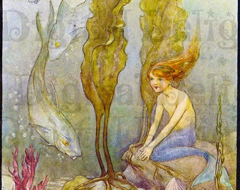 Sweet Child Little Mermaid Among The Fishes. Fairy Tale Vintage DIGITAL Illustration. Digital Download.