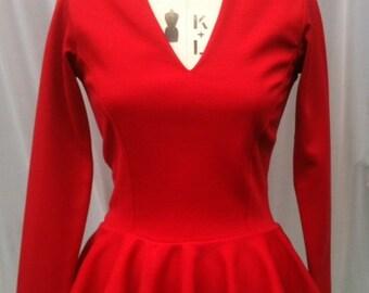 Baylis & Knight Red Ponte PEPLUM  Long Sleeve Low Cut TOP Tshirt Retro Dita Burlesque Pin Up