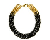 Simple Black and Brass Chainmaille Bracelet