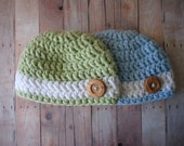 Newborn Twin Hats - Soft Green and Blue with Thick White Stripe and Wood Button