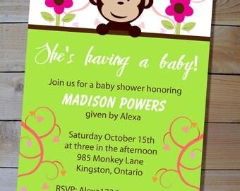 Monkey Baby Shower Invitation - Gender Neutral Green Mod Monkey Printable Baby Shower Invitation