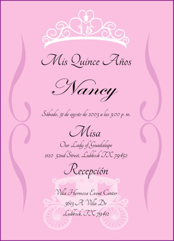 Princess Quinceanera Invitation by cecydesigns on Etsy