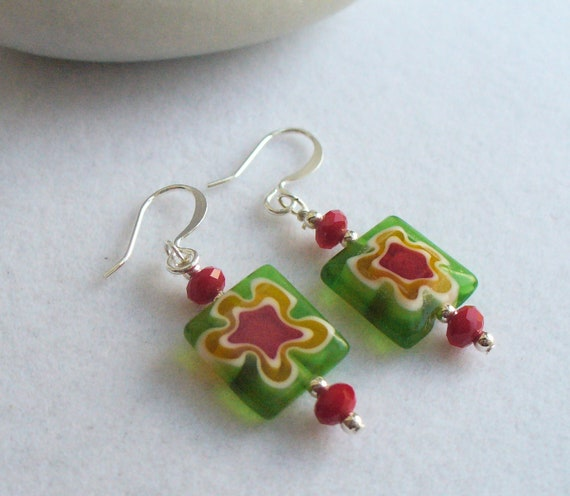 Drop, Dangle Beaded Earrings with Green, Red and Yellow Milliefiore Square Beads, Red Rondelles and Silver Findings for Winter, Spring