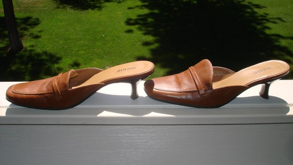 Brown Tan (Genuine leather) sexy mule shoes size 6.5 M SALE