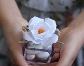 Modern romantic paper flower wedding favor