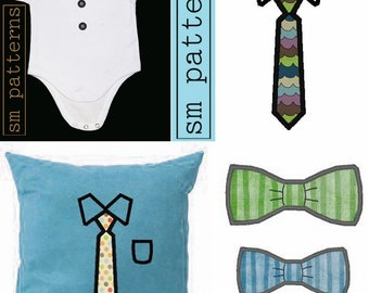 Machine Embroidery Design - Small Long Tie and Bow Tie Pack