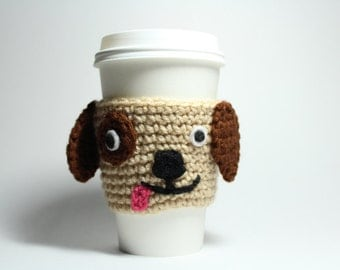 Coffee Cozy,  puppy Crochet,  Animal Drink Sleeve, Can Holder, Dog Java Jacket ,Travel Cup Holder