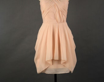 A-line One Shoulder Pearl Pink  Bridesmaid Dress, Short Chiffon Bridesmaid Dress