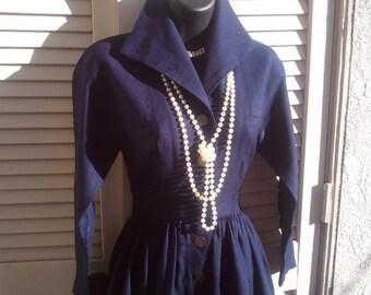S A L E - Classic, Navy Linen Dress, Vintage Women's Day Dress, 1950's, Gold Buttons, Mid Century