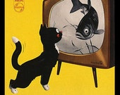 Vintage Graphic Fridge Magnet Black Cat watches TV Fish swimming around Bright yellow room