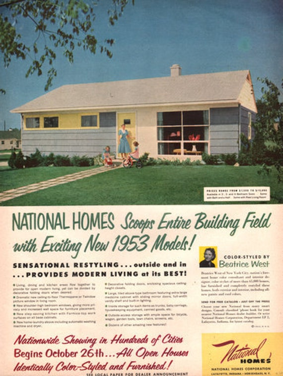 1952 53 national homes print ad mid century by retromagnifico for Ad house