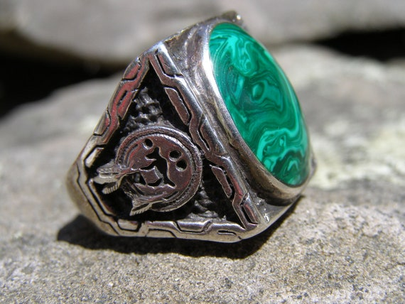 Sale Giant Vintage Mens Malachite Sterling Silver Biker Ring