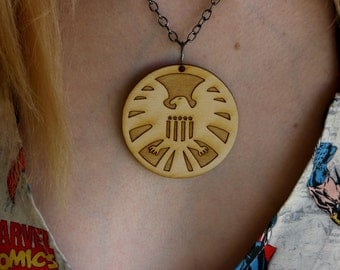 Wooden SHIELD necklace