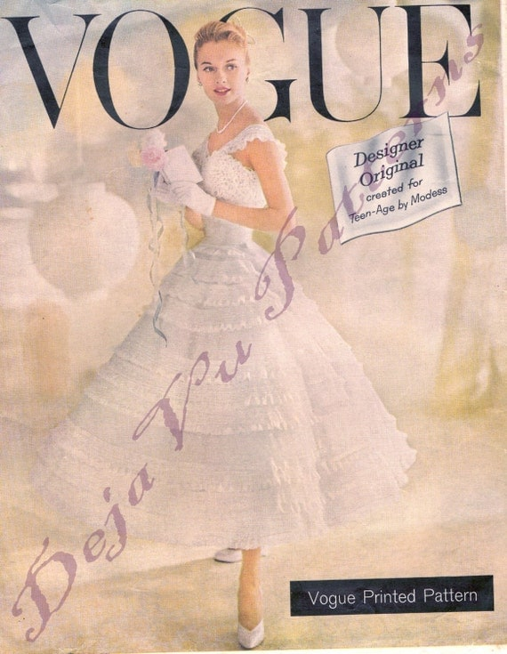 RARE Vogue Chantilly Dress and Petticoat Vintage 1950s Sewing Pattern Sz 12