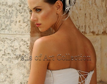 Bridal Feather Flower Hair Accessory Headpiece by Veils of Art Style VE608