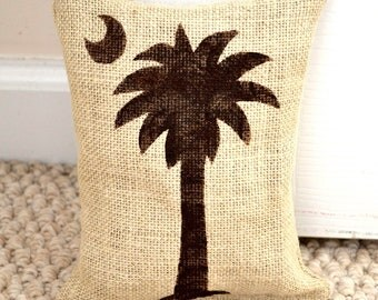 burlap doorstop South Carolina Palmetto  Beach home decor