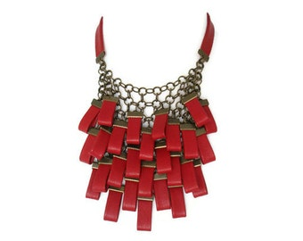 Red Leather Necklace, Leather Cluster Statement Necklace,  Leather Jewellery, Evening Necklace, Gift for Her