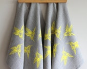 SCREEN PRINTED NAPKINS with yellow hummingbirds on 100% natural color linen set of four