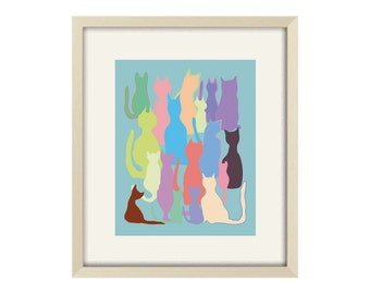 cat art abstract art modern art print cat wall art cat poster cat decor modern nursery art cat nursery art modern cat art abstract cat art