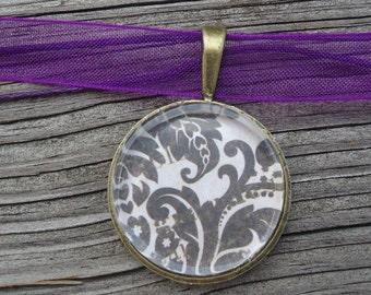 Black Swirls,  Vintage Inspired, Glass Pendant, Gift for her