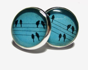 Birds on Power Lines Resin Post Silver Earrings