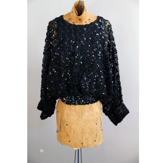 ON HOLD for Sabeen // 1970s Black Sequin Avant Garde Batwing blouse
