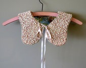 Peachy Keen Pink and Cream, Beaded and Embellished Collar with Ribbon Ties - TheChestOfDrawers