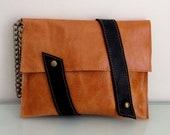 woman leather clutch,  purse, wristlet, wallet, camel color