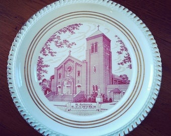 Souvenir Plate of St. Antony's Church, New Jersey