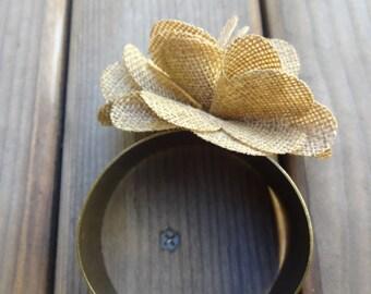 Flower Burlap Cut Out Bangle - Cuff Bracelet - Brass Band - Women's Jewelry