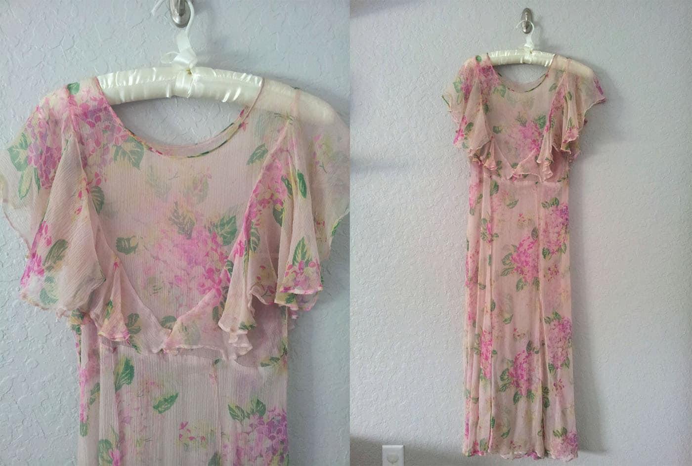 Vintage 1930s Pink Hydrangea Print Chiffon Dress